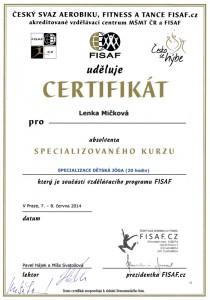 Certifikát Dětská jóga