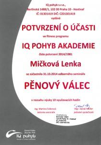 Certifikát IQ pohyb - pěnový válec