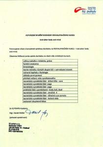 Certifikát Instruktor Body and Mind - docházka