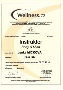 Certifikát Instruktor Body and Mind