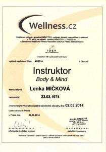 Certifikát Instruktor Body and Mind