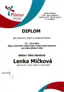 Certifikát Jóga a cvičení jako zdroj inspirace pro pilates