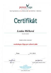 Certifikát Jóga pro zdravá záda