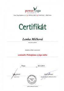 Certifikát Pránájáma a jóga nidra