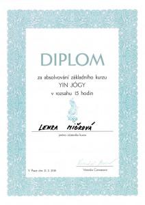 Certifikát YIN jóga